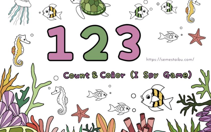 Kindergarten worksheet - count and color - i spy game - lembar kerja berhitung TK - lembar kerja PAUD