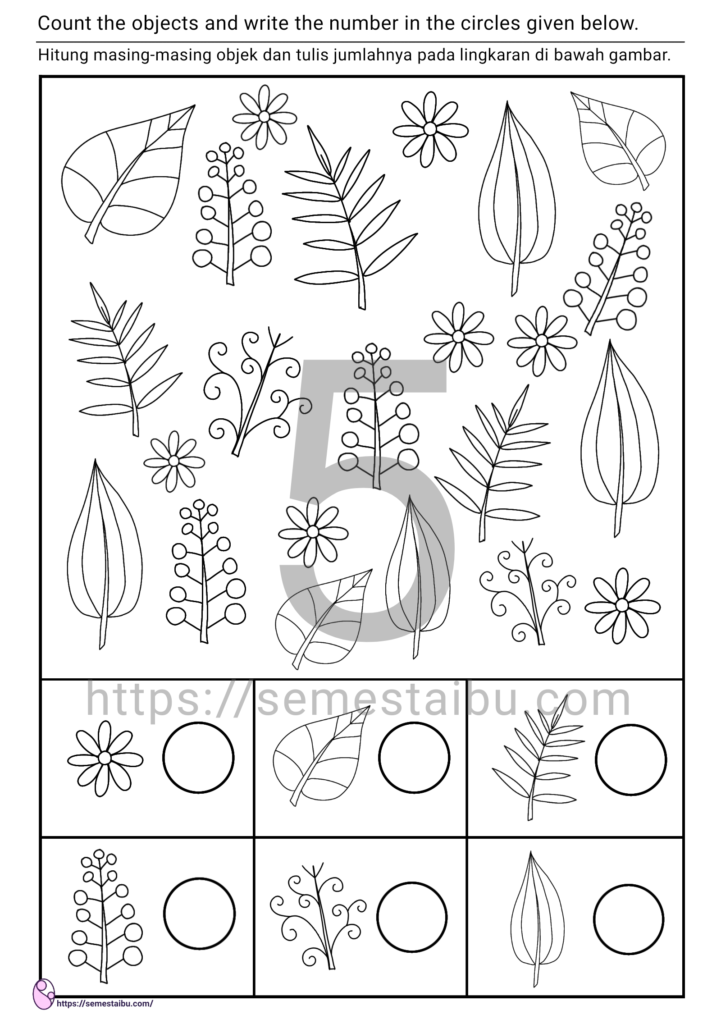 kindergarten worksheet - count and color worksheet - i spy game - lembar kerja anak TK/PAUD