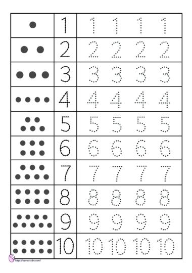 menebali angka 1-10 - worksheet anak tk