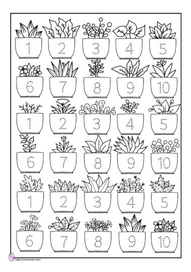 menebalkan angka - lembar kerja anak tk tema tanaman