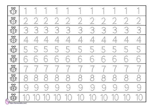 kindergarten worksheet - number tracing - lembar kerja anak TK - menebalkan angka