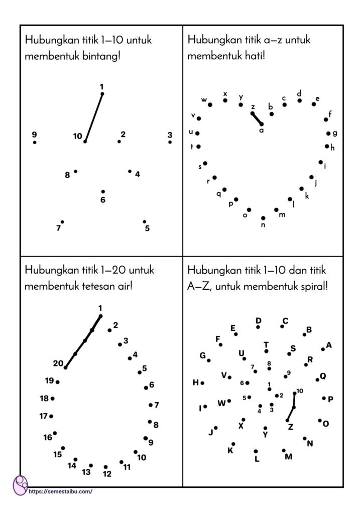 Kognitif lembar kerja tk - menghubungkan titik