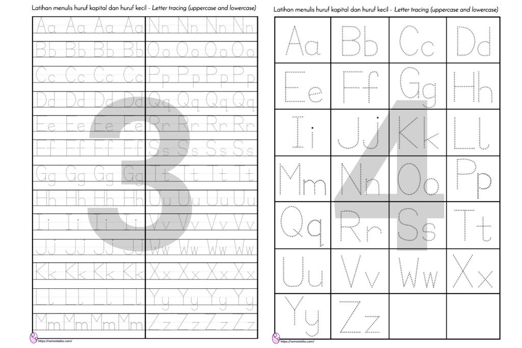 menebalkan huruf - Letter tracing worksheet