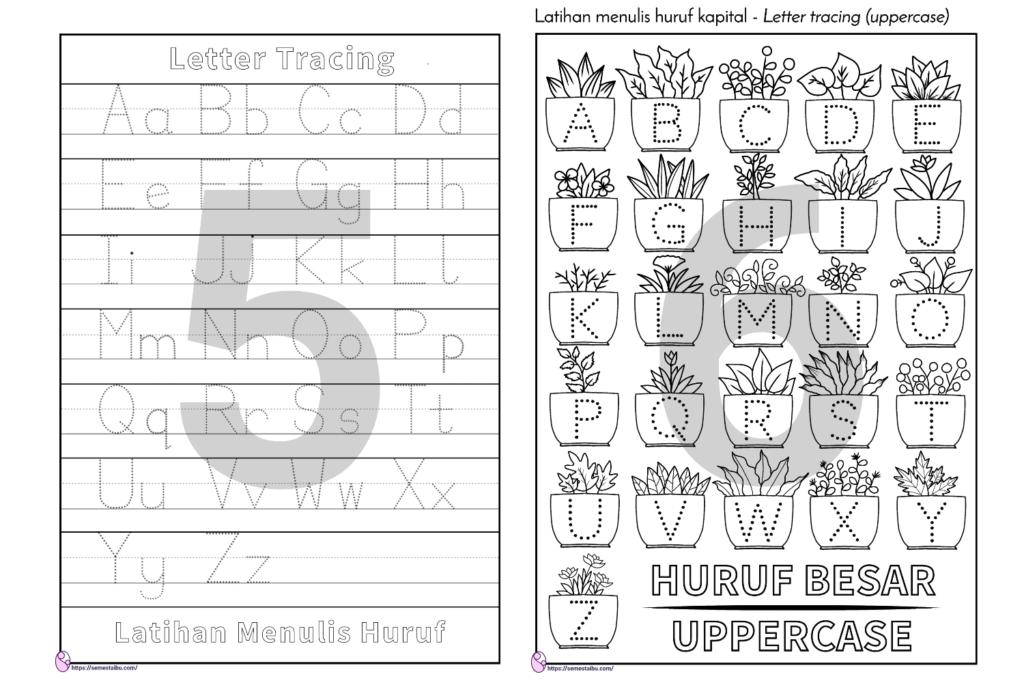 lembar kerja TK menulis - menebalkan huruf