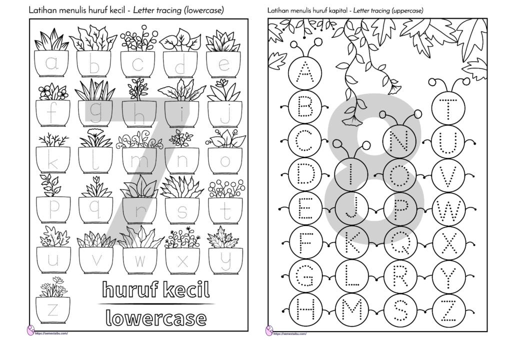 lembar kerja anak tk tema tanaman - menebalkan huruf