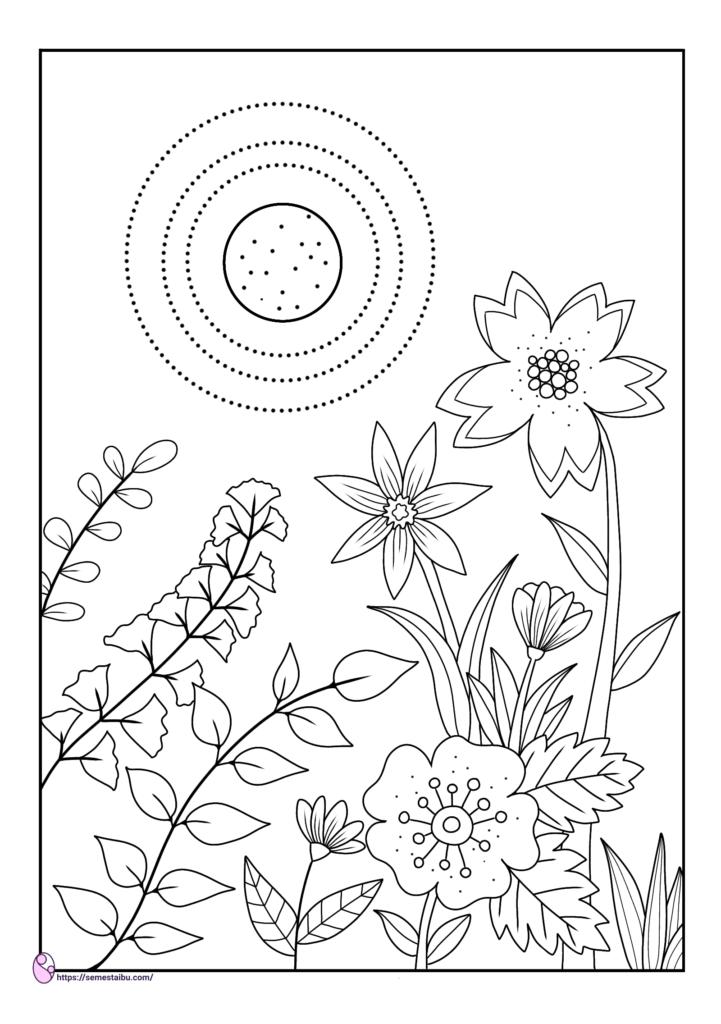 Gambar Mewarnai Bunga Semesta Ibu Free Download