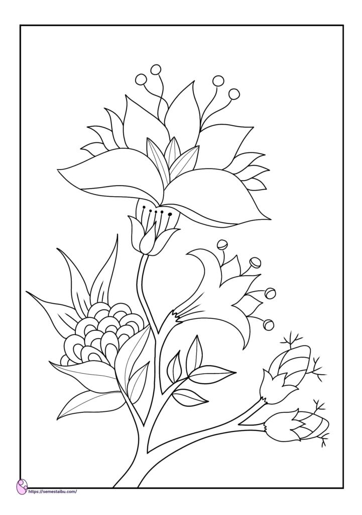 gambar mewarnai - bunga - semesta ibu