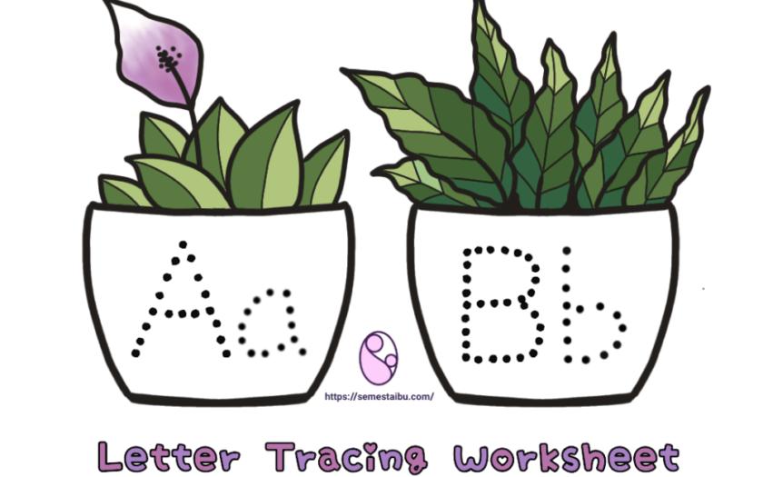 Lembar kerja TK/PAUD (menulis huruf) - Letter tracing worksheet
