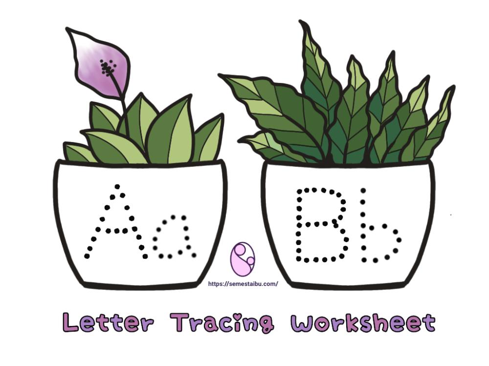 lembar kerja anak TK - menebalkan huruf - cover - letter tracing worksheet