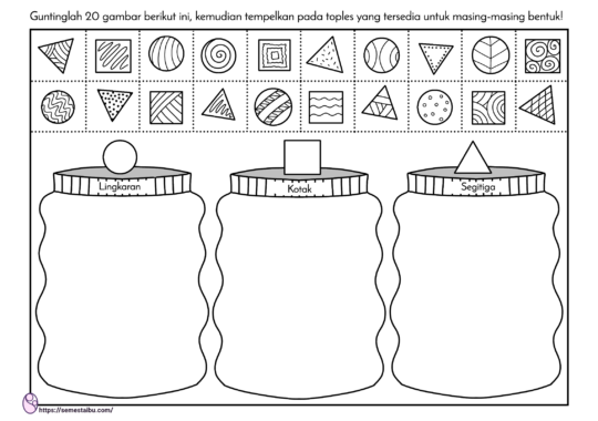 Lembar kerja anak TK - Lembar kerja PAUD - gunting tempel - sortir