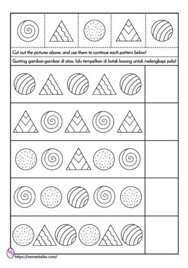 lembar kerja anak tk - melengkapi pola