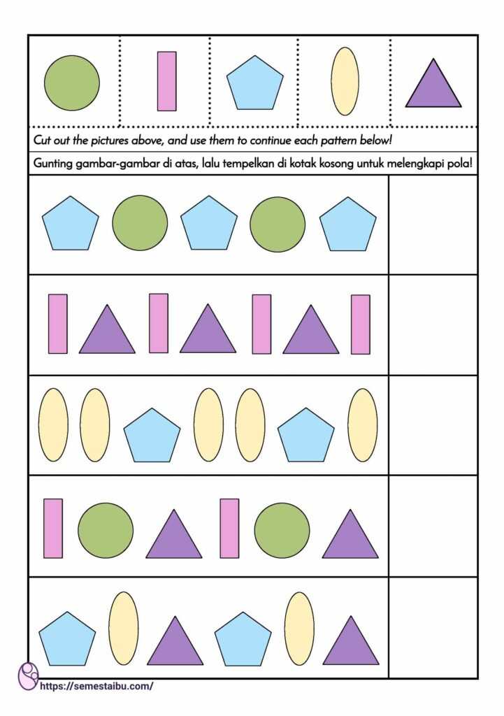 kognitif lembar kerja anak tk - mengurutkan pola