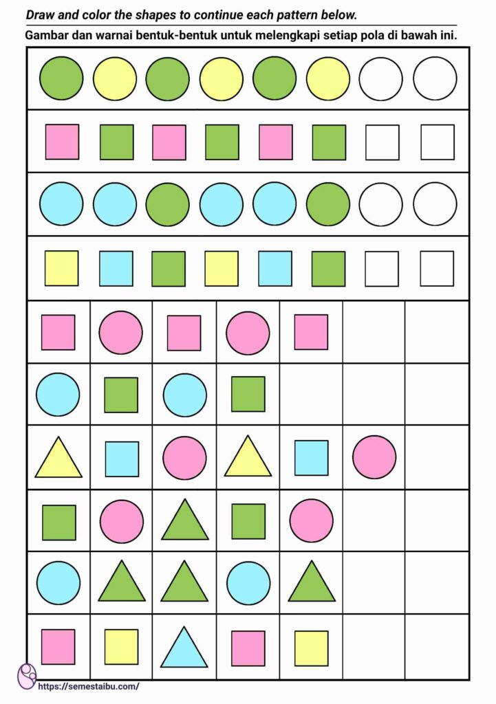 lembar kerja anak tk paud - melengkapi pola - perkiraan urutan - pattern kindergarten worksheet