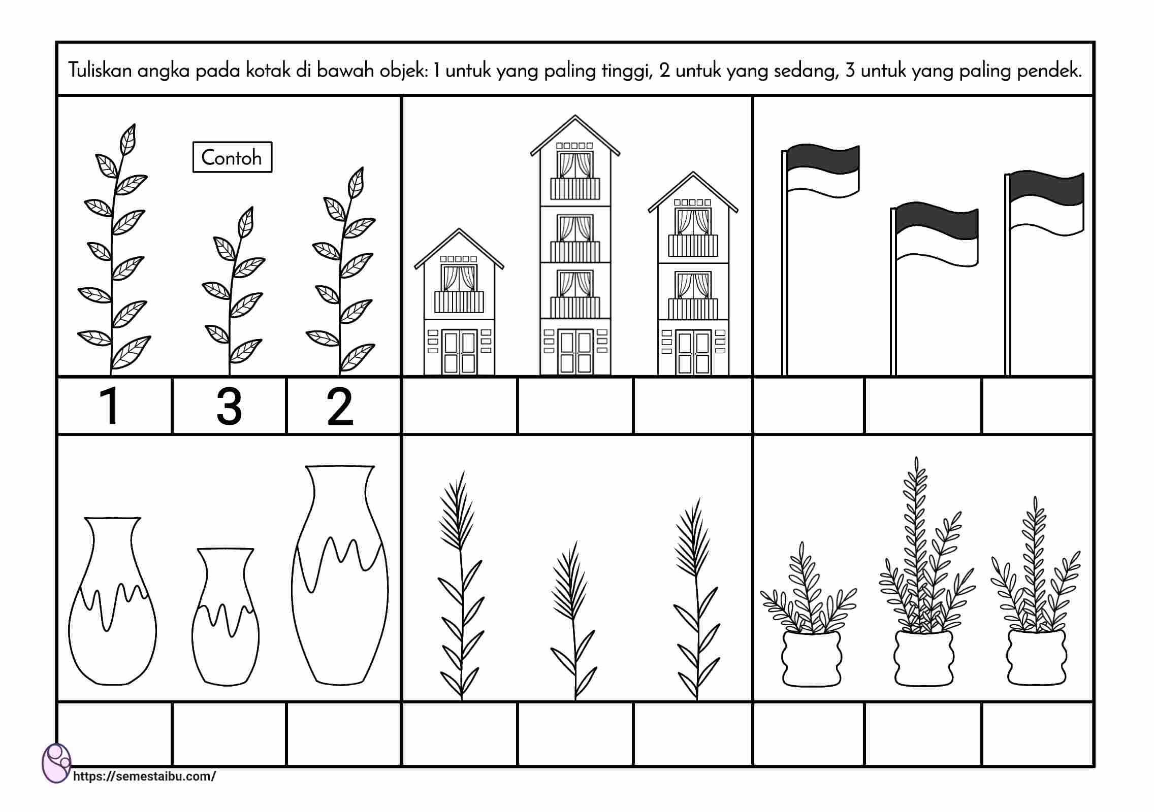 Lembar kerja anak tk - lembar kerja paud - ukuran tinggi pendek - perbandingan - kindergarten worksheet - short tall