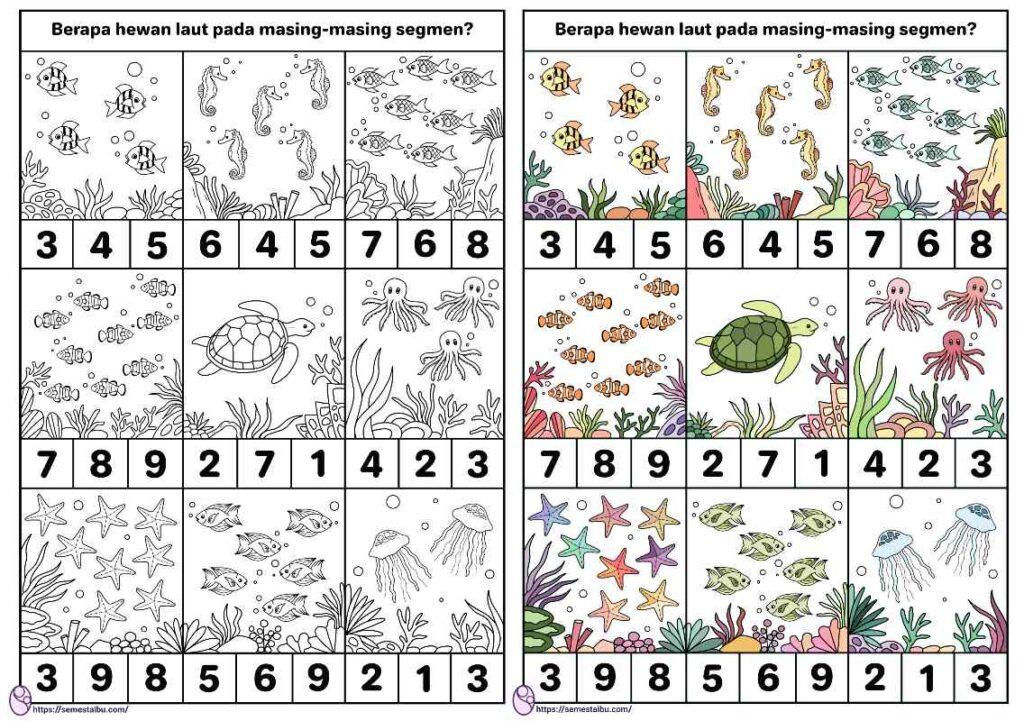 lembar kerja anak tk berhitung tema hewan