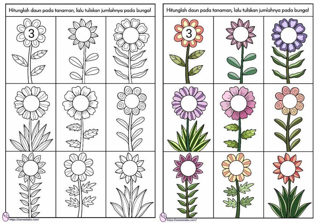 lembar kerja anak tk berhitung - tema tanaman