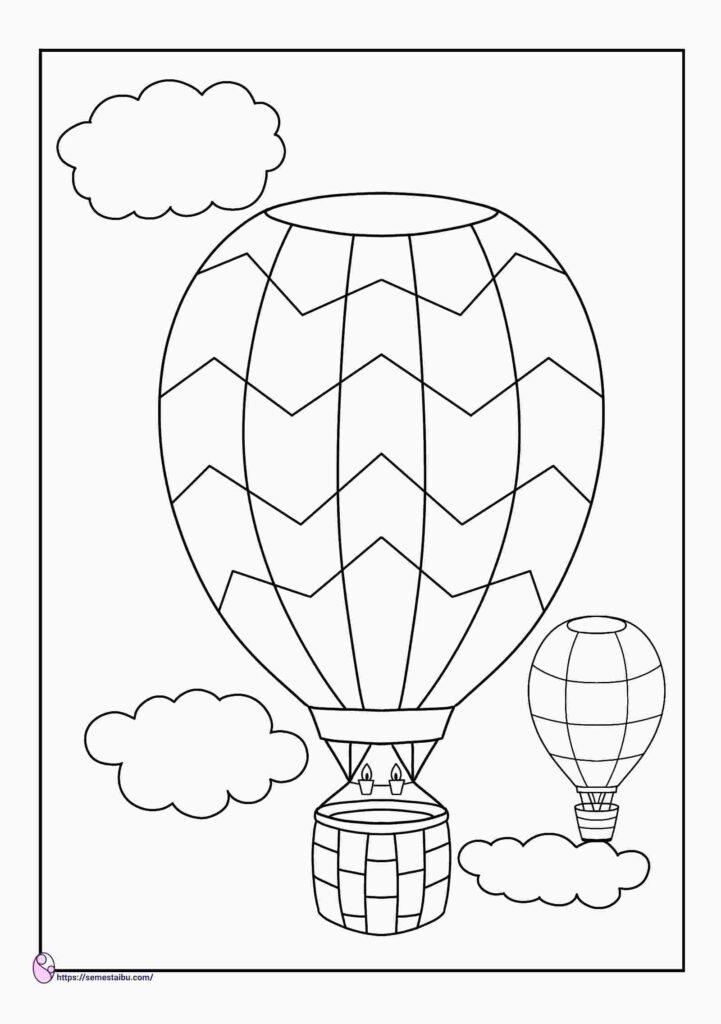 gambar mewarnai balon udara