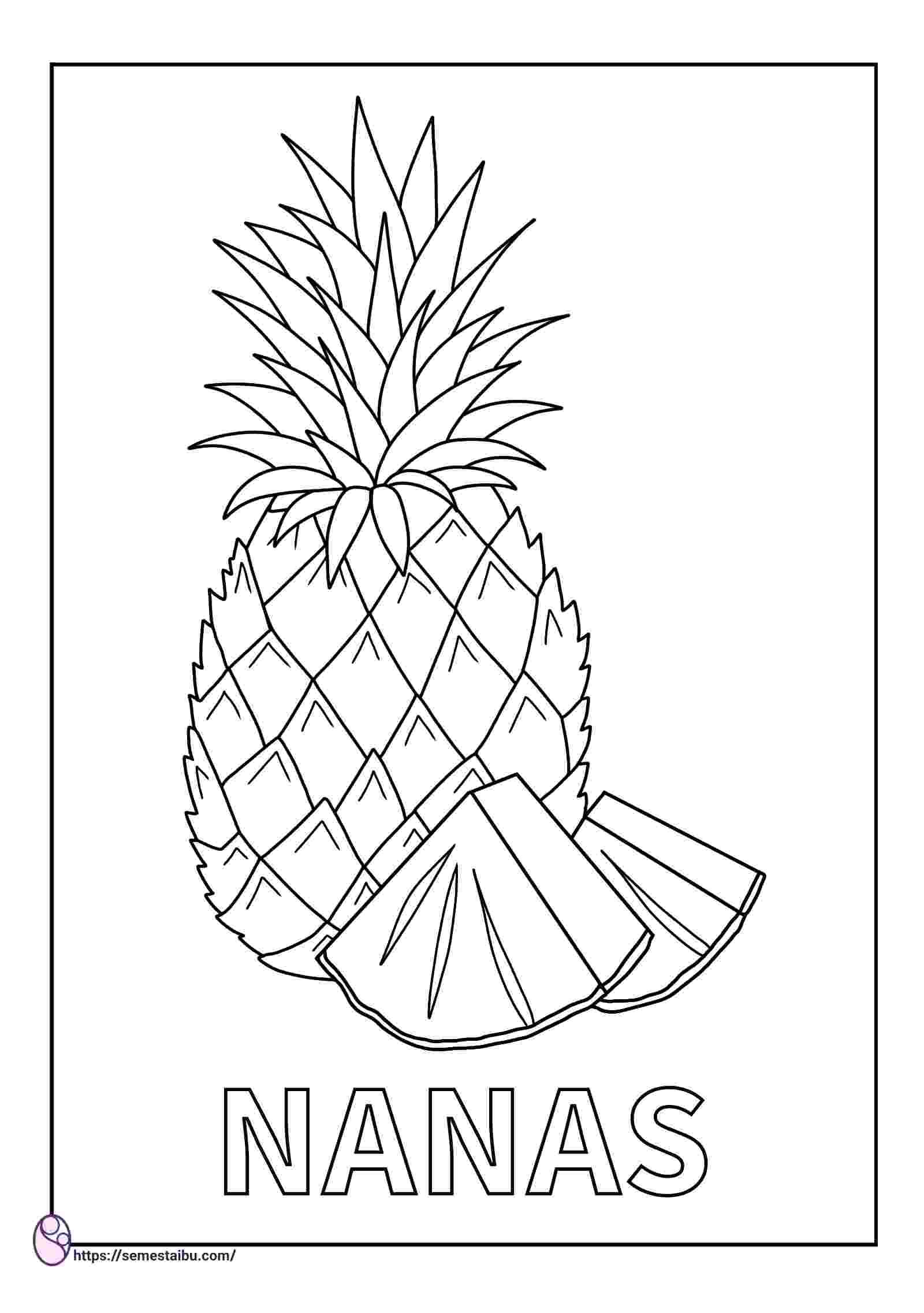 gambar mewarnai buah - nanas