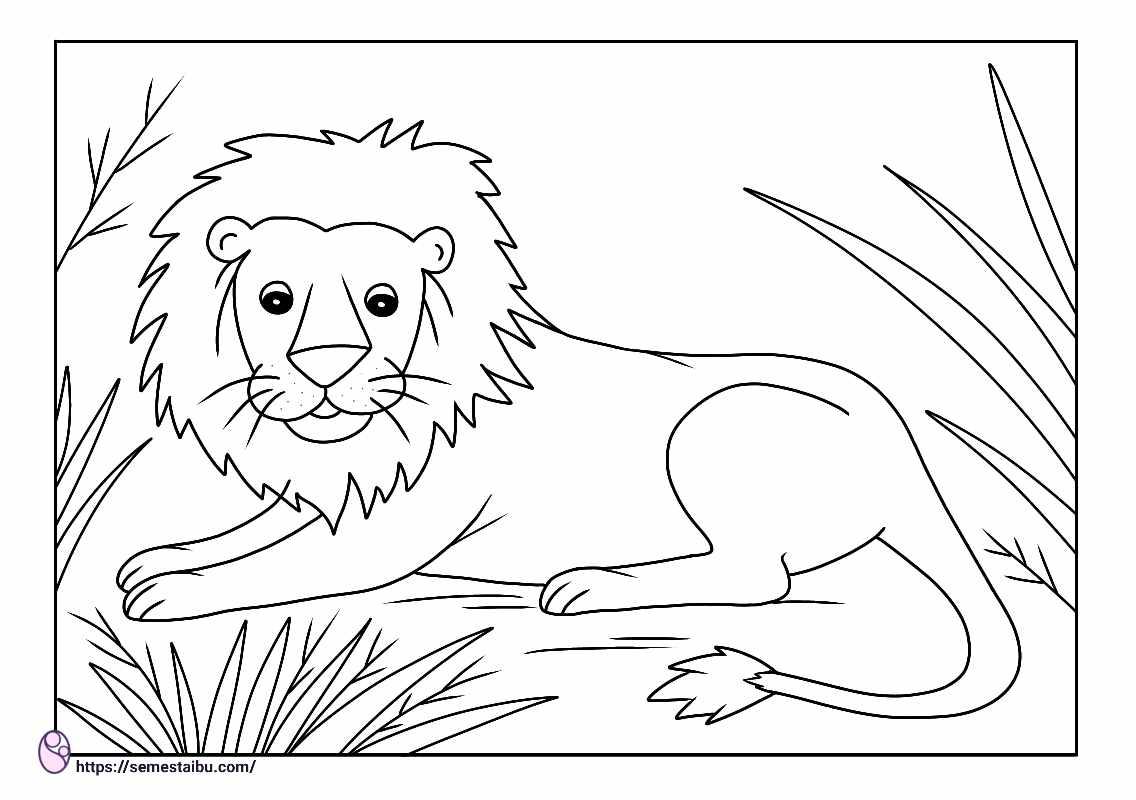 gambar mewarnai hewan singa
