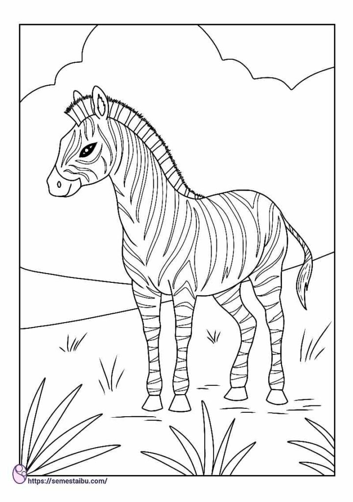 kids coloring pages - animal - zebra