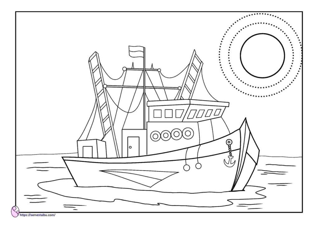 gambar mewarnai kapal