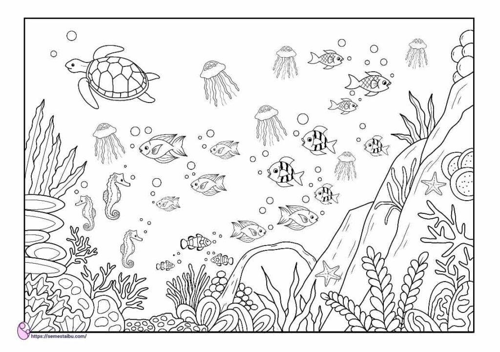 gambar mewarnai pemandangan bawah laut
