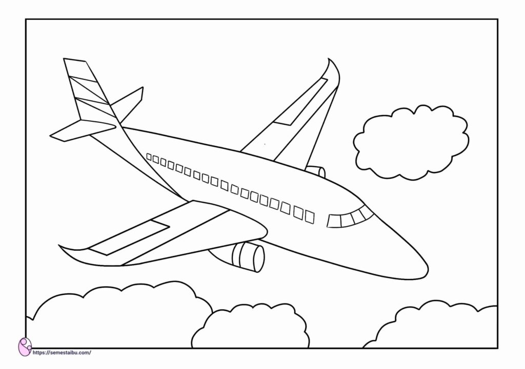 gambar mewarnai kendaraan udara - pesawat
