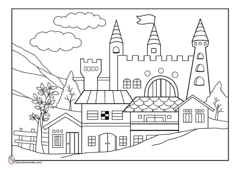 gambar mewarnai rumah - istana
