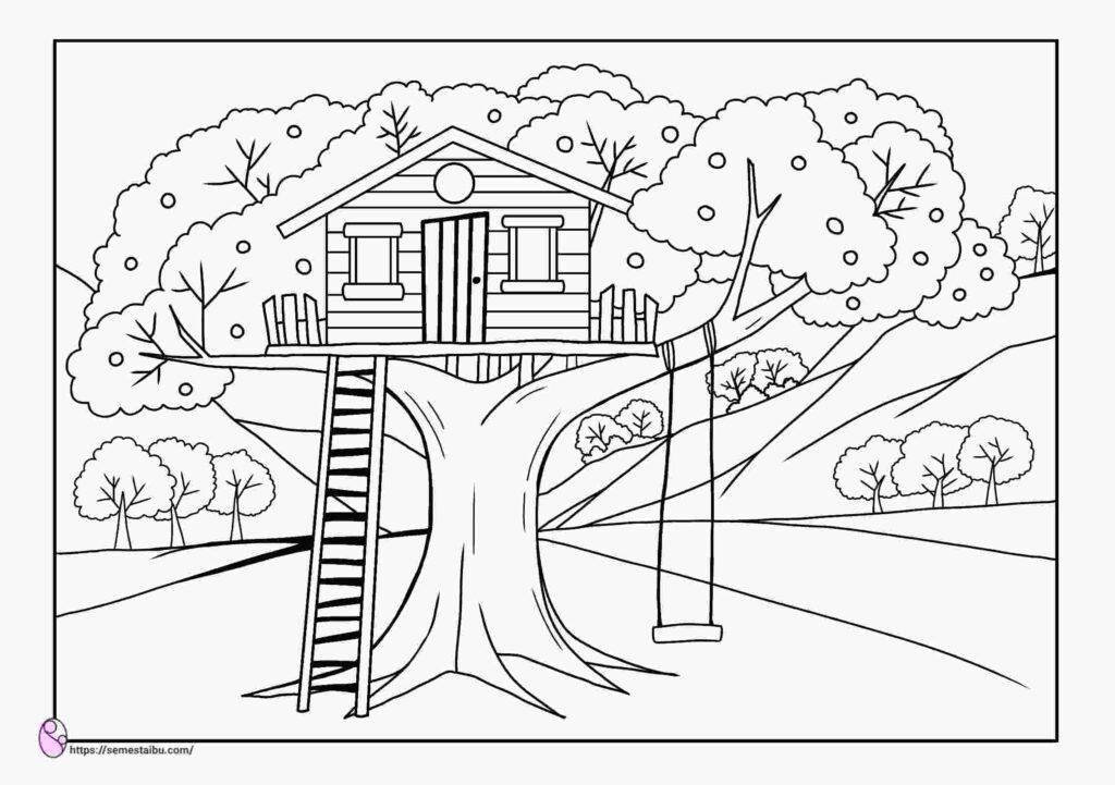gambar mewarnai rumah - pohon