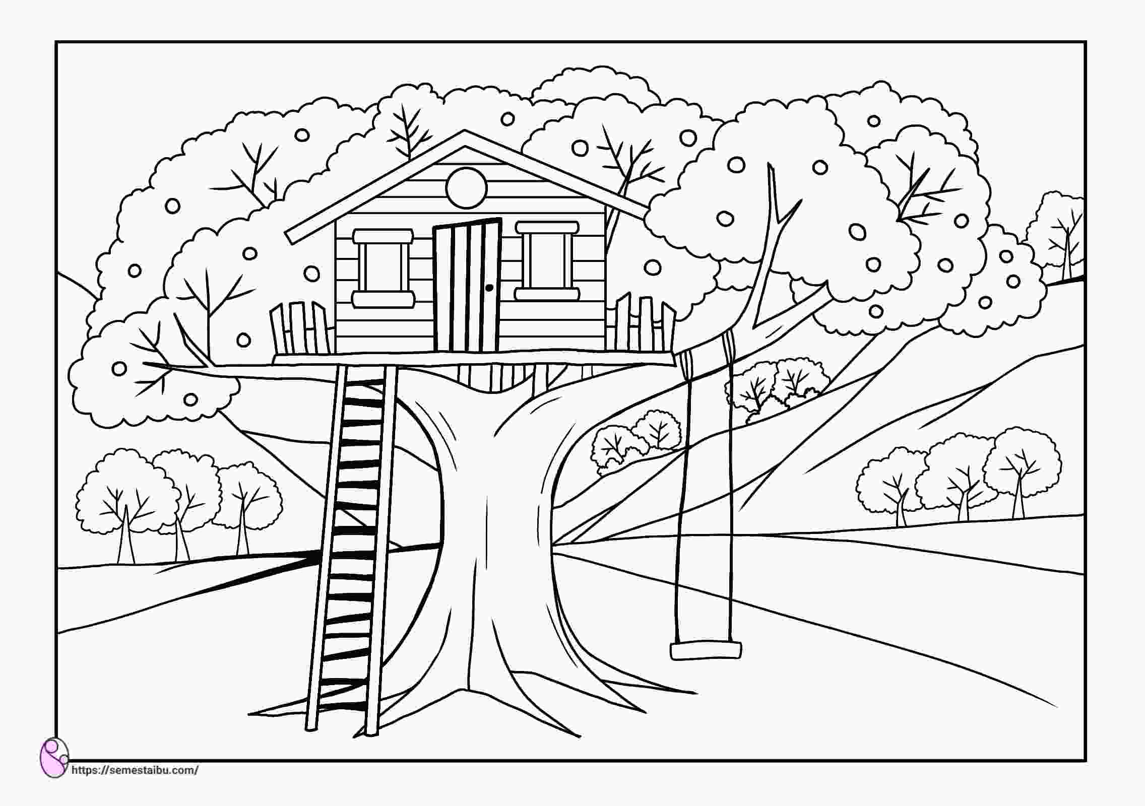 Gambar Mewarnai Rumah Pohon