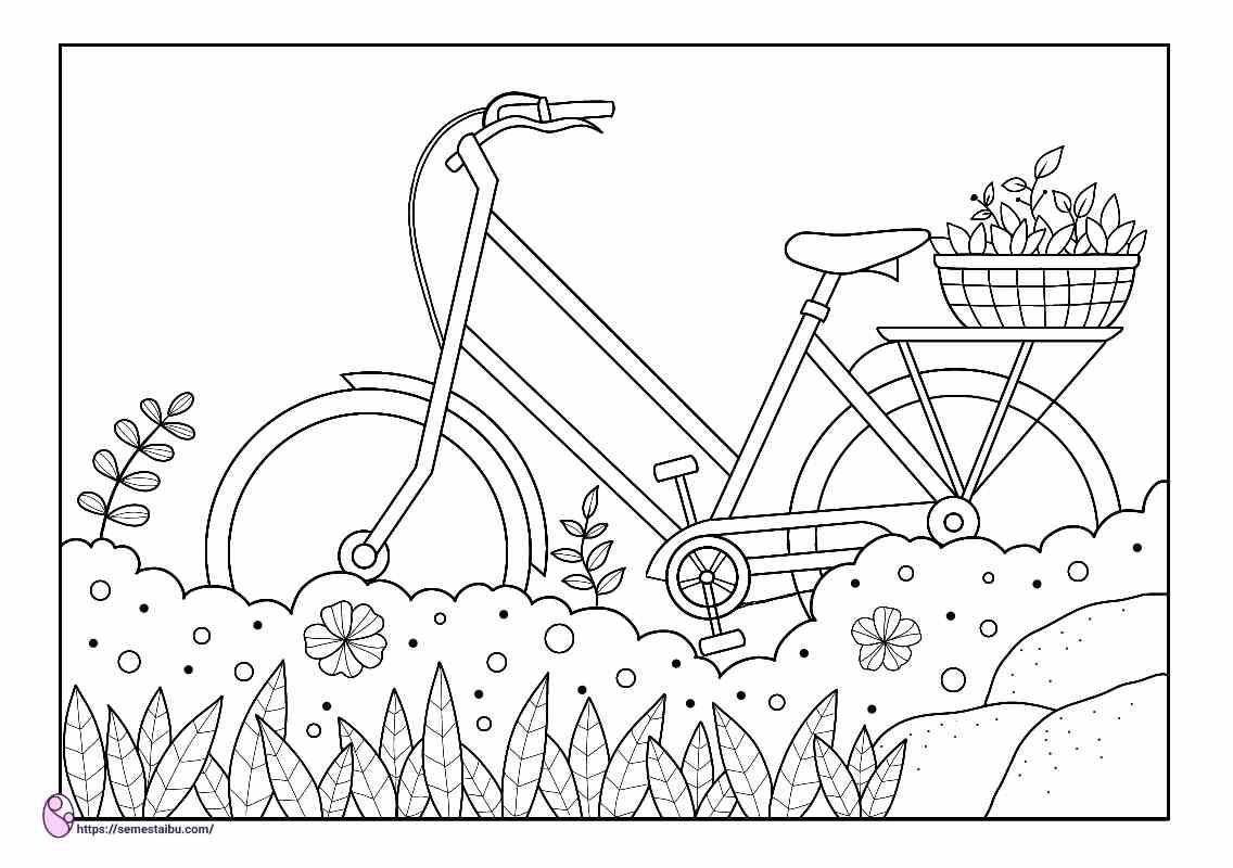 gambar mewarnai sepeda