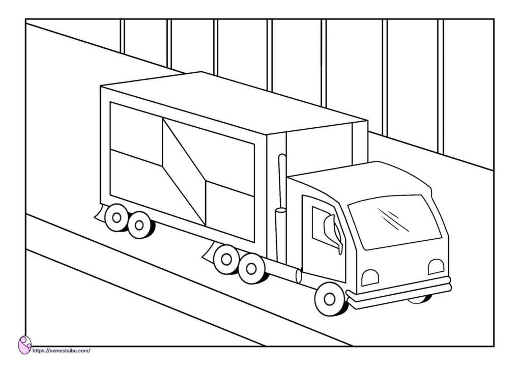 gambar mewarnai truk
