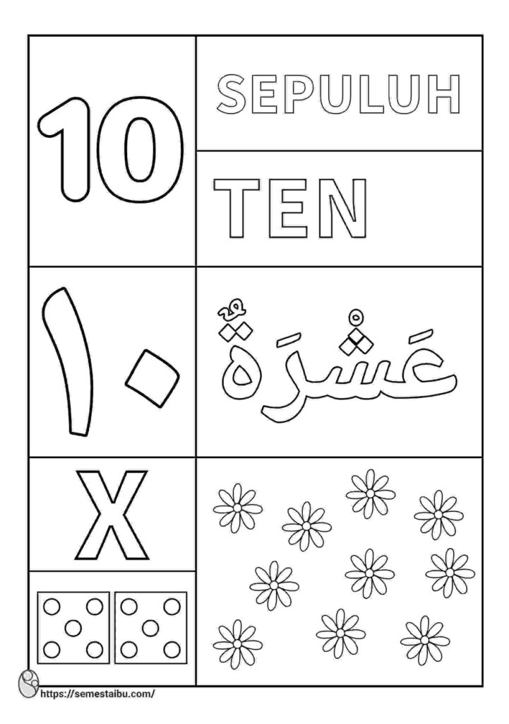 lembar kerja anak tk - mewarnai angka