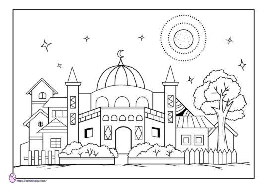lembar kerja anak tk - gambar mewarnai masjid