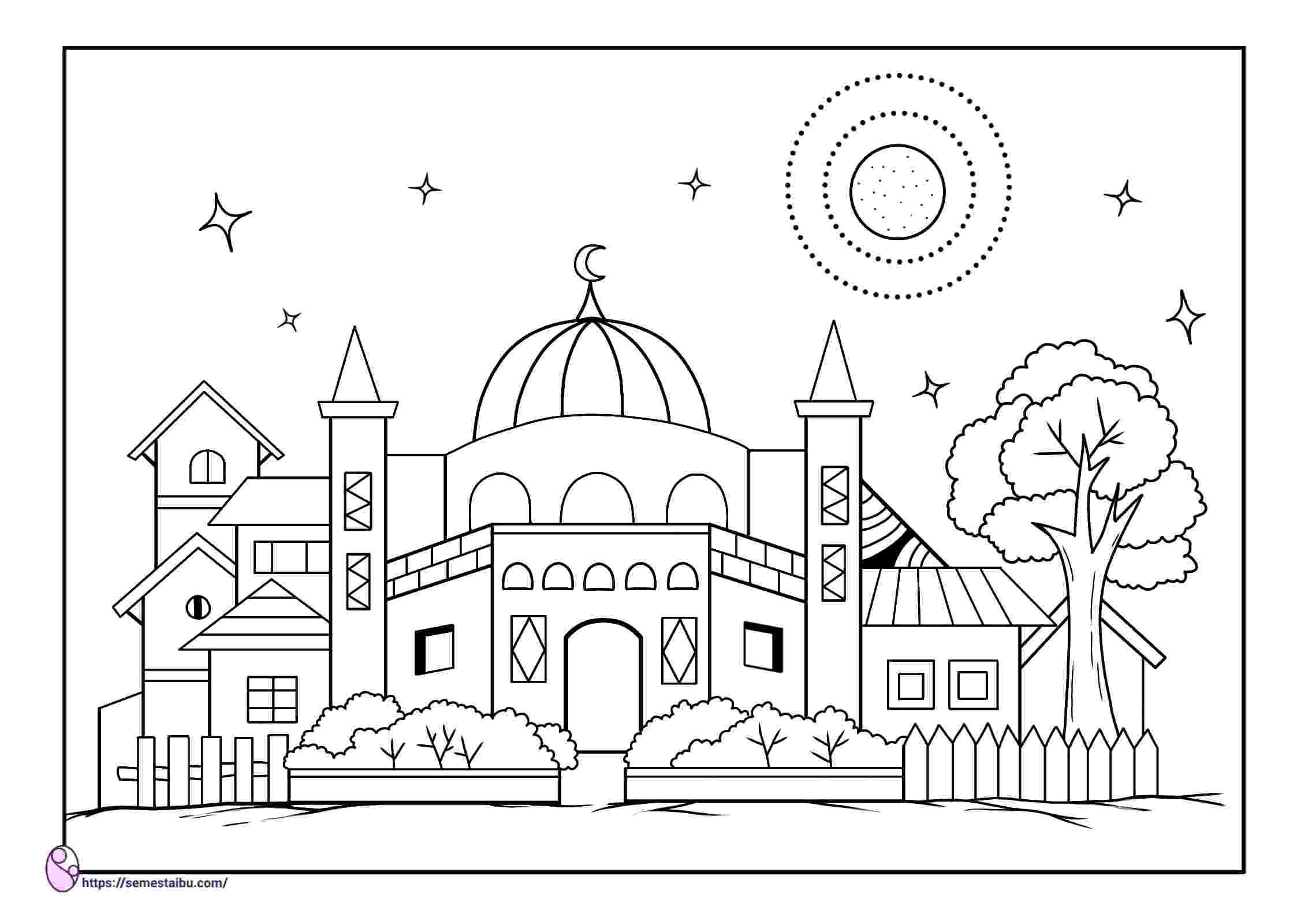mewarnai masjid