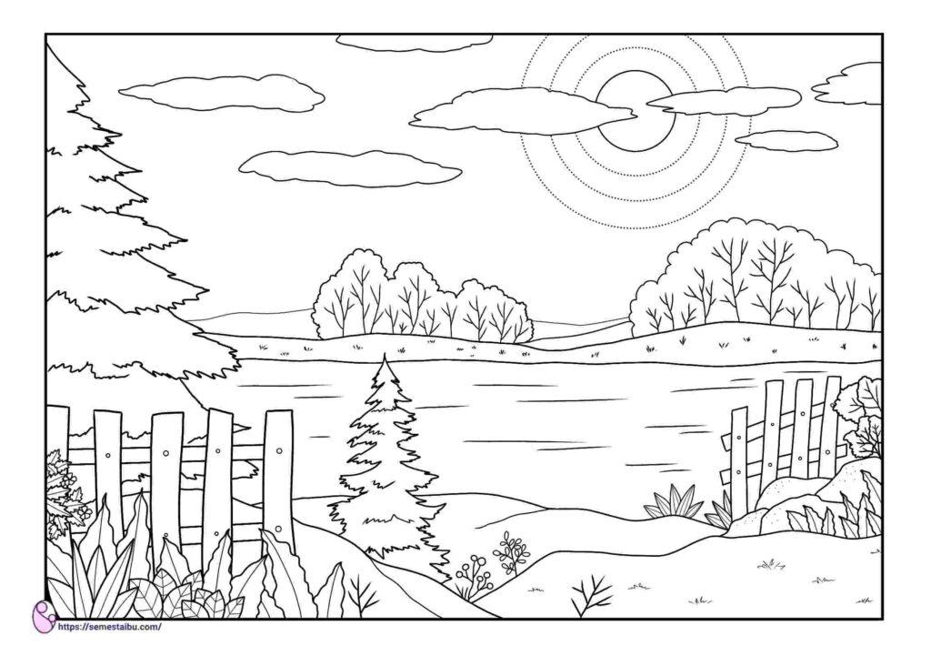 gambar mewarnai pemandangan danau