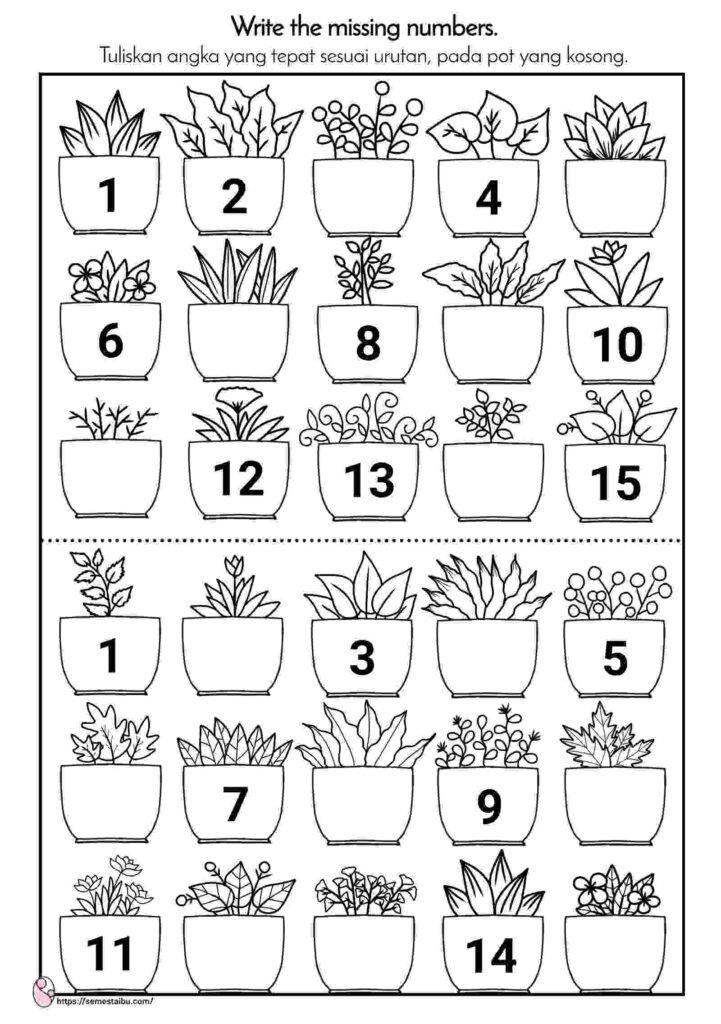 Lembar kerja anak tk tema tanaman