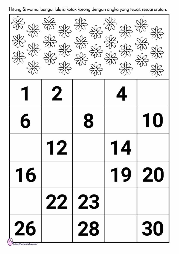 lembar kerja tk urutan angka - kindergarten worksheet - missing numbers