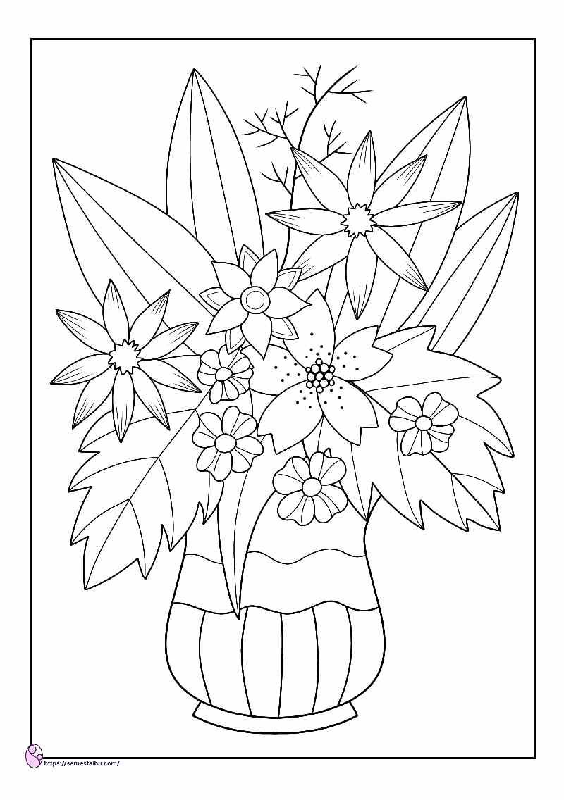 gambar mewarnai vas bunga