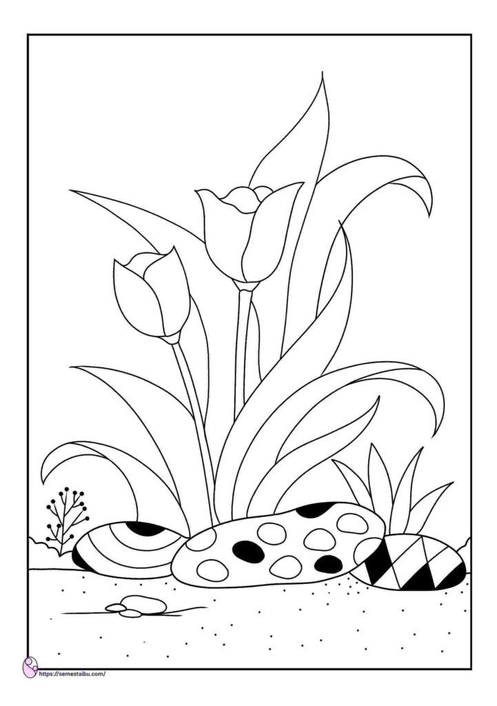 gambar mewarnai bunga tulip