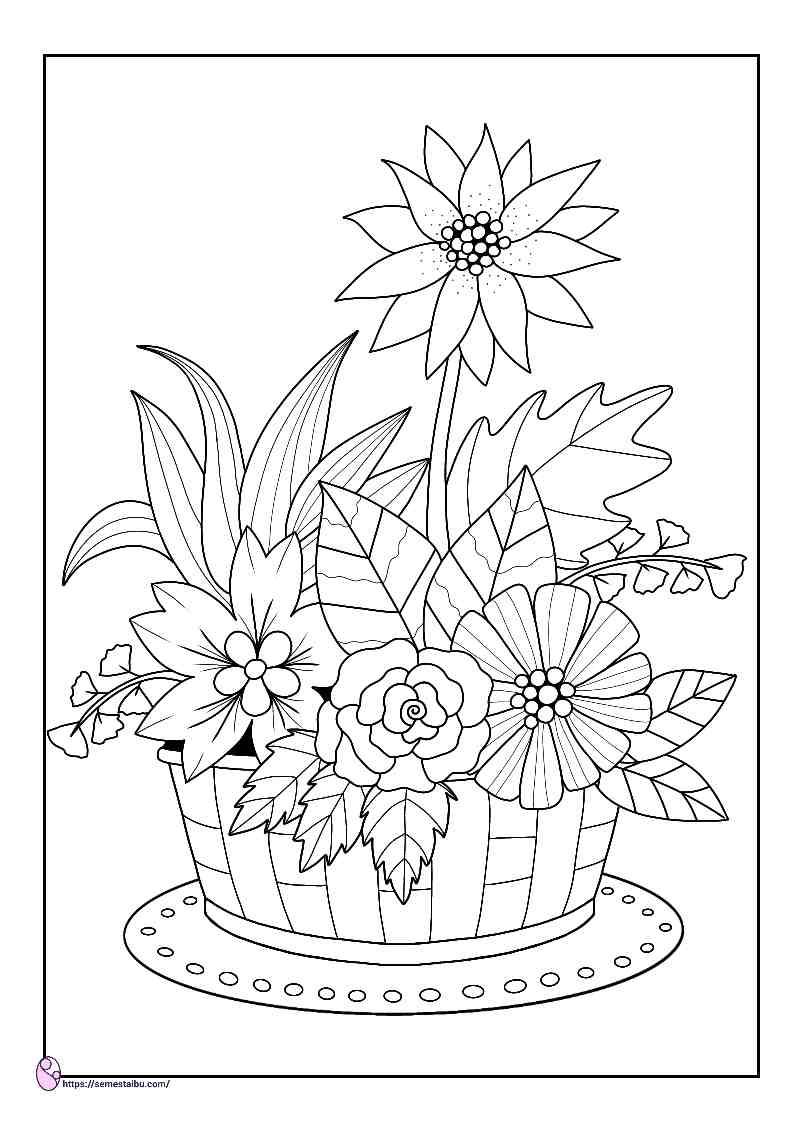 gambar mewarnai bunga dalam keranjang