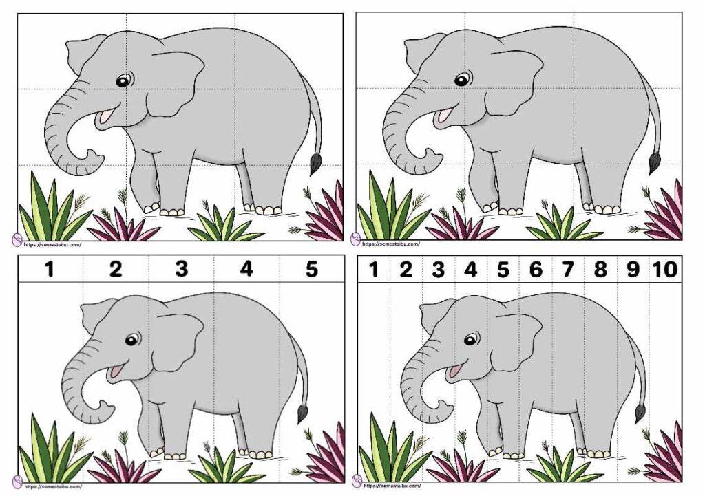 Lembar kerja paud tema binatang menyusun gambar puzzle