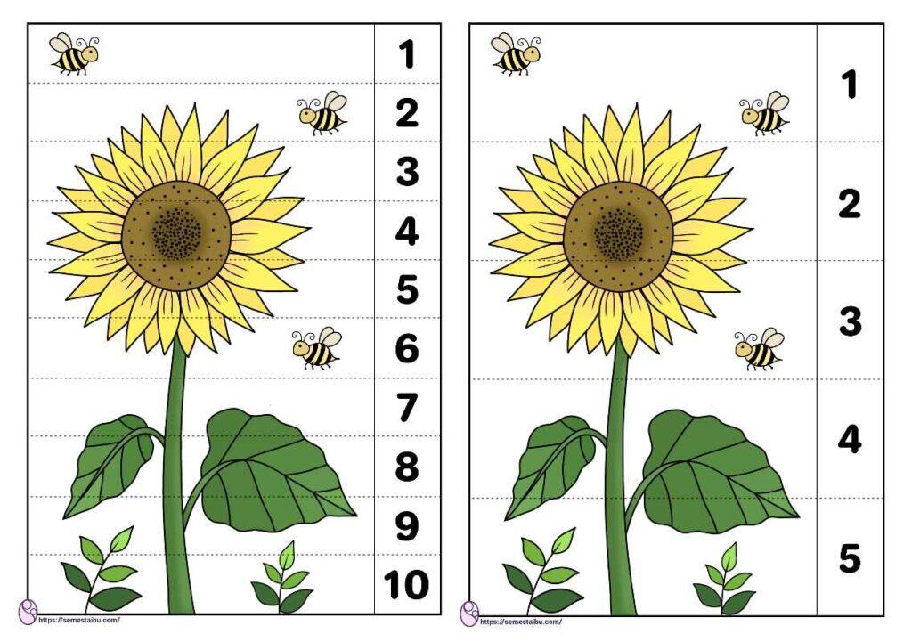 Lembar kerja anak tk tema tanaman menyusun gambar puzzle