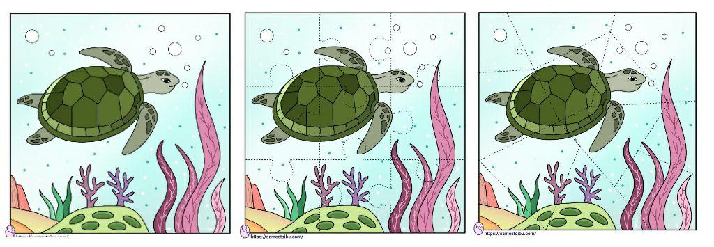 Lembar kerja paud menyusun gambar puzzle