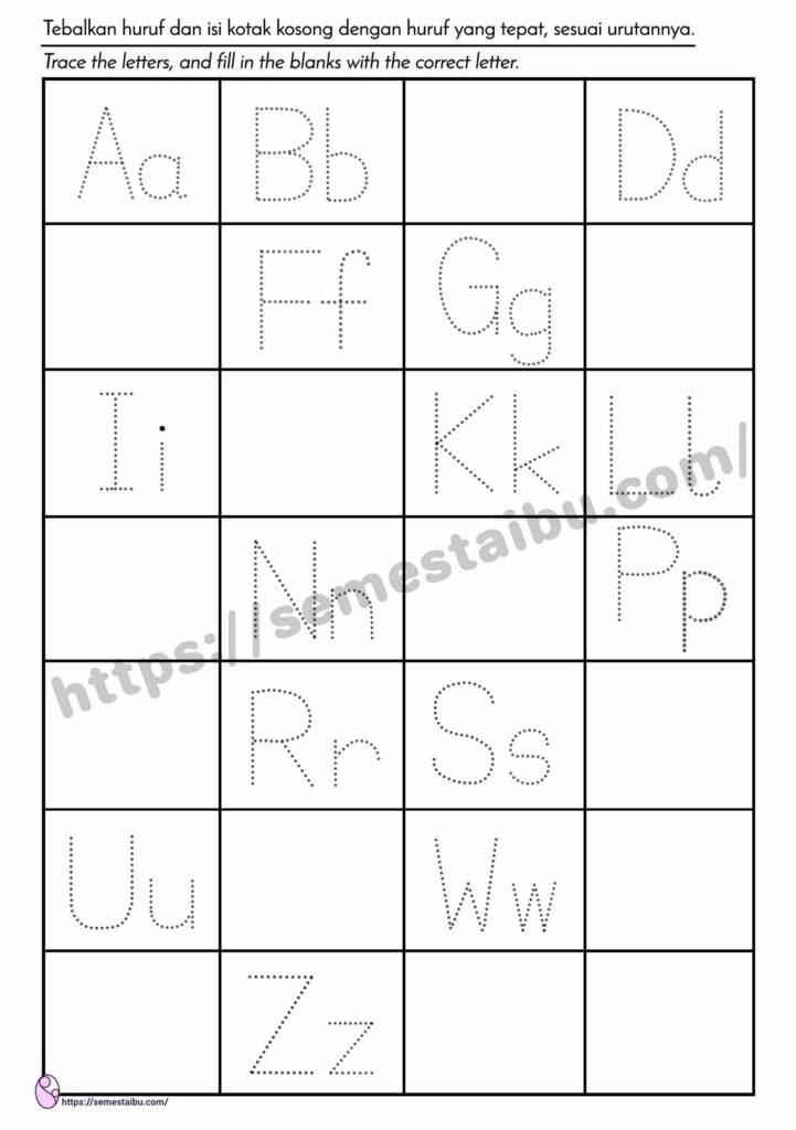 Lembar Kerja Anak TK - Menulis Huruf (Missing Letters