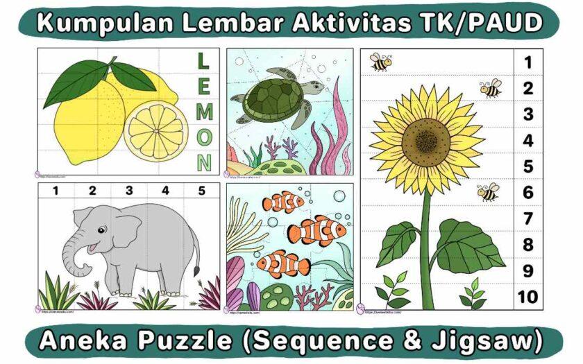 printable puzzle - lembar kerja tk - worksheet paud