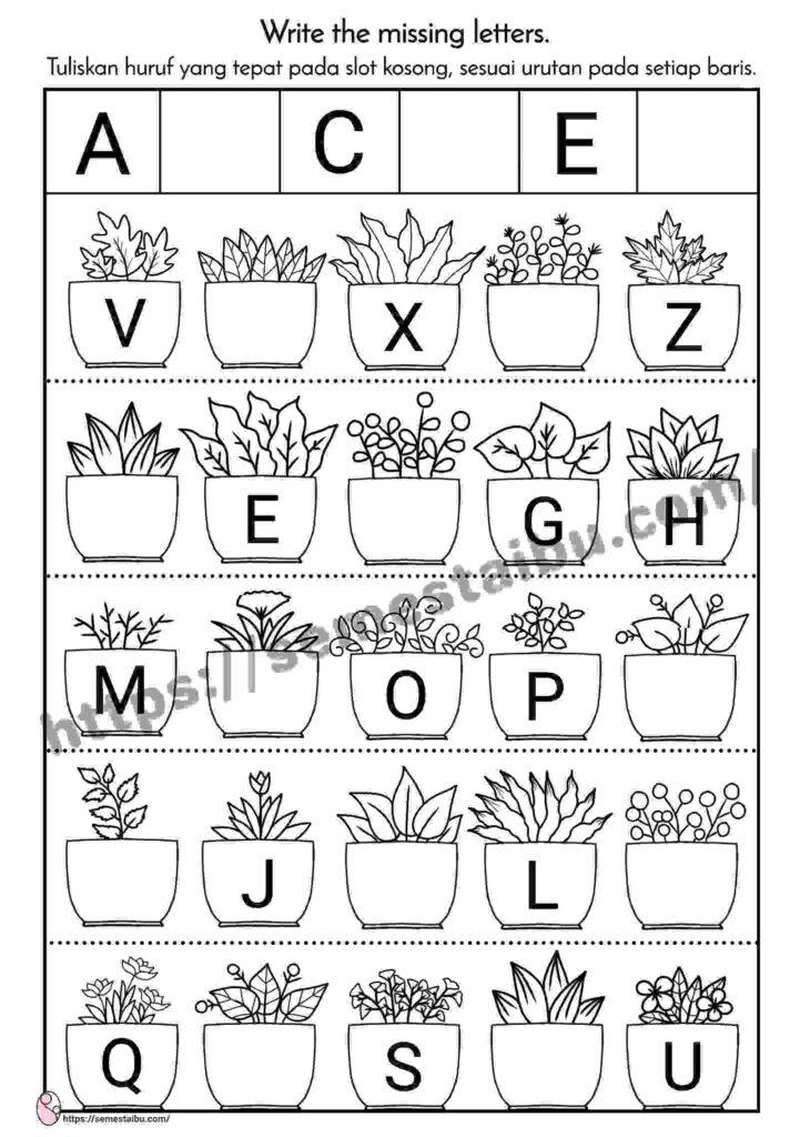 lembar kerja anak tk tema tanaman - urutan huruf