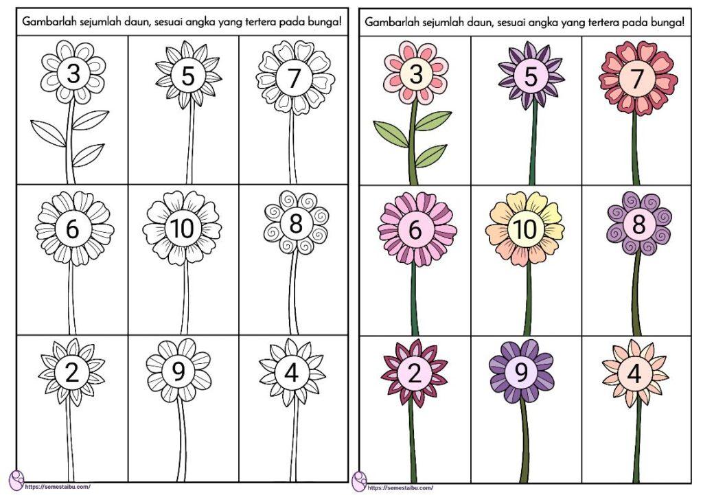 lembar kerja berhitung untuk anak tk tema bunga