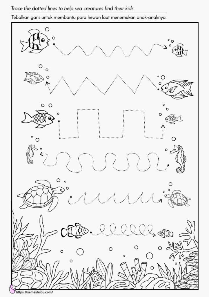 Lembar kerja paud tema binatang