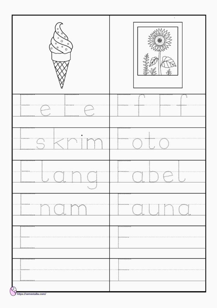Lembar kerja menulis untuk anak tk
